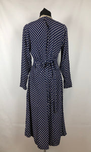 "1940s CC41 Classic Navy and White Polka Dot Dress - Bust 34"" 36"""