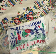 Load image into Gallery viewer, 1940s Volup Red, Blue, Yellow & Green Floral Fruits of the Loom  Roses Dress - B42