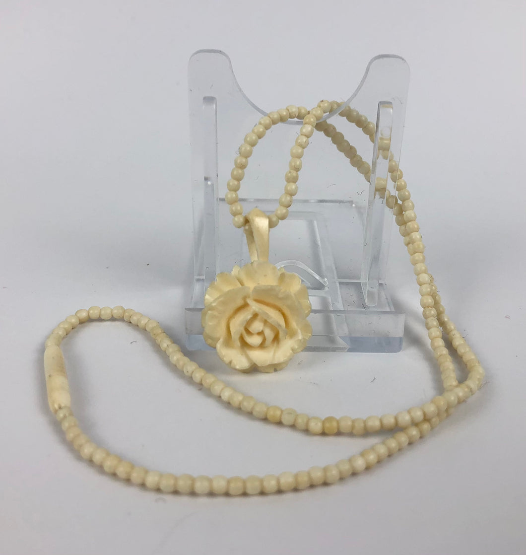 1930s 1940s Carved Bovine Bone Rose Pendant and Necklace - 16