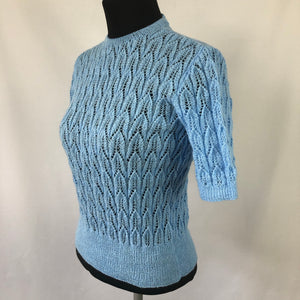 Reproduction 1940s Lace Jumper in Pale Blue - B36 38