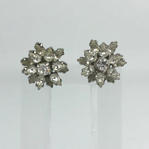 Original 1940s 1950s Claw Set Clear Paste Flower Clip on Earrings