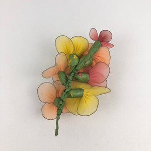 Vintage Pastel Coloured Chiffon and Wire Floral Corsage