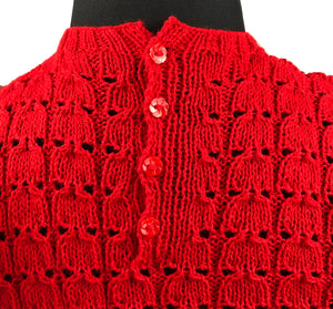 Reproduction 1940s Jumper in Bright Lipstick Red - B 34 36