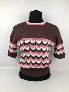 Reproduction 1940s Jumper in Stripes of Brown, Pink and Cream - B 36 38 40