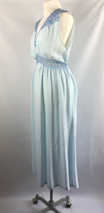 1940s 1950s Ice Blue Rayon and Lace Nightdress with Bows - B36