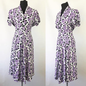 Wounded But Wearable 1940s Black, Purple and White Dress - B36