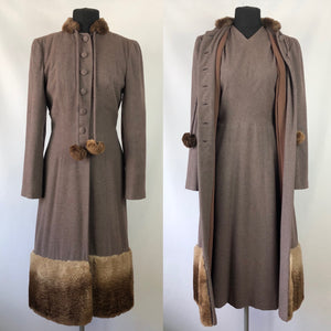 Exceptional 1940s Genuine Fur Trimmed Princess Coat and Dress Set by Reels of Milwaukee - B36