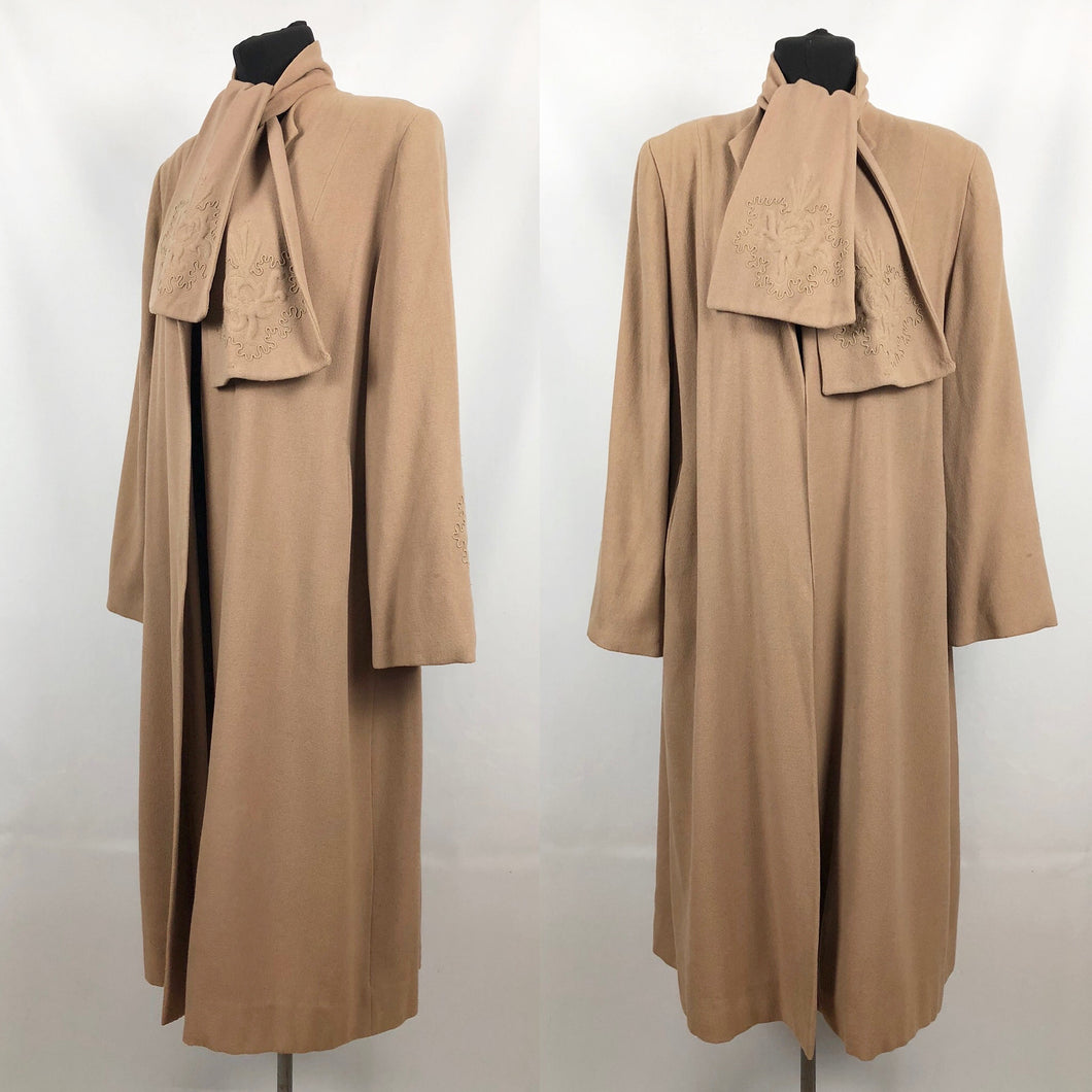 1940s Volup Caldaric Camel Coloured Wool Coat with Soutache and Trapunto Quilting - Bust 44 46
