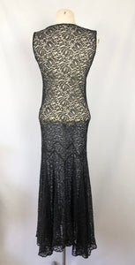 1930s Black Lace Evening Dress  with Huge 10ft Skirt in a Floral Design - Bust 34 35
