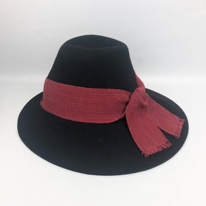 1940s Inky Black Felt Hat with Red Trim