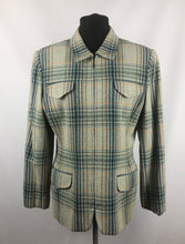 Load image into Gallery viewer, Vintage Zip Front Jacket in Green, Yellow and Navy Check - B38 40