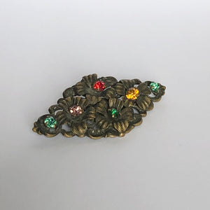 Vintage Czech Brooch with Colourful Paste
