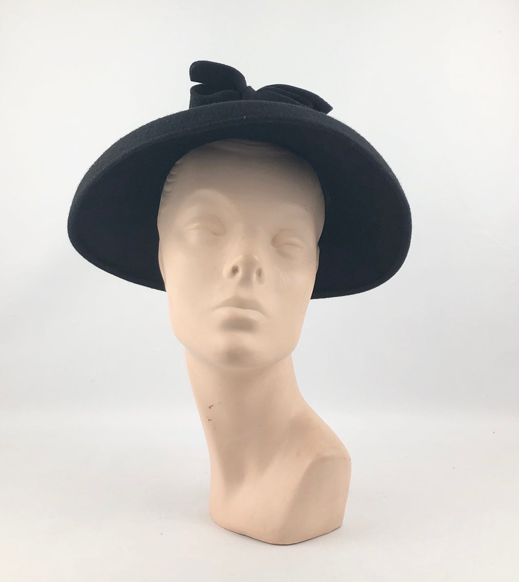 RESERVED 1940s Black Felt Bonnet Hat with Grosgrain Trim