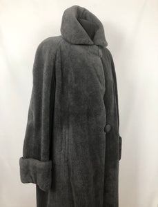"1940s Grey Faux Fur ""Teddy Bear"" Coat - Bust 38 40 42"