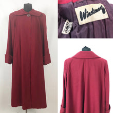 "Load image into Gallery viewer, 1940s 11011 True Volup Burgundy Wool Coat by Windsmoor - Bust 48"" 50"""