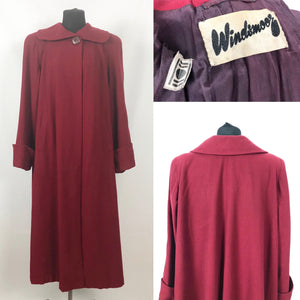 "1940s 11011 True Volup Burgundy Wool Coat by Windsmoor - Bust 48"" 50"""