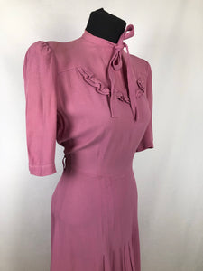 "CC41 Rose Pink Crepe Day Dress - Bust 34"" 36"""