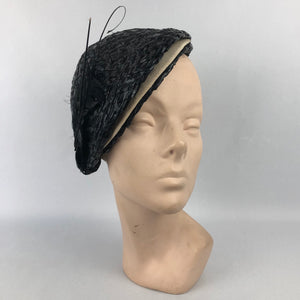 1930s Black and White Lacquered Straw Hat with Feather Trim