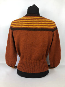 "Reproduction 1930s Hand Knitted Jumper in Rust with Brown and Mustard Stripes B 35"" 36"" 37"" 38"""