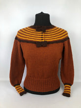 "Load image into Gallery viewer, Reproduction 1930s Hand Knitted Jumper in Rust with Brown and Mustard Stripes B 35"" 36"" 37"" 38"""