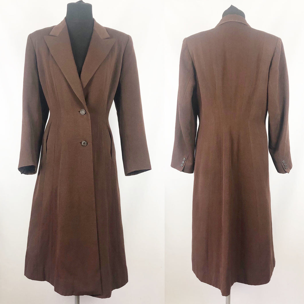 1940s Chocolate Brown Fit and Flair Grosgrain Princess Coat - Bust 36 38
