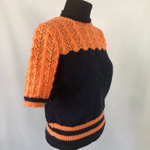 RESERVED FOR CAMIELLE DO NOT BUY - Reproduction 1940s Navy and Orange Jumper - B40 42
