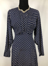 "Load image into Gallery viewer, 1940s CC41 Classic Navy and White Polka Dot Dress - Bust 34"" 36"""