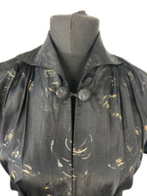 Load image into Gallery viewer, 1950s Black, Silver and Gold Silk Taffeta Dress - B36