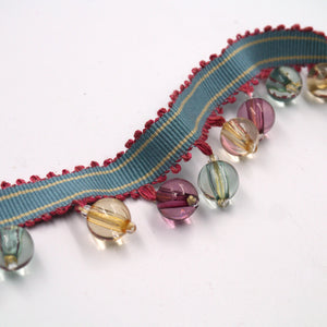 40mm Multi-Coloured Beaded Fringe Braid BL6176