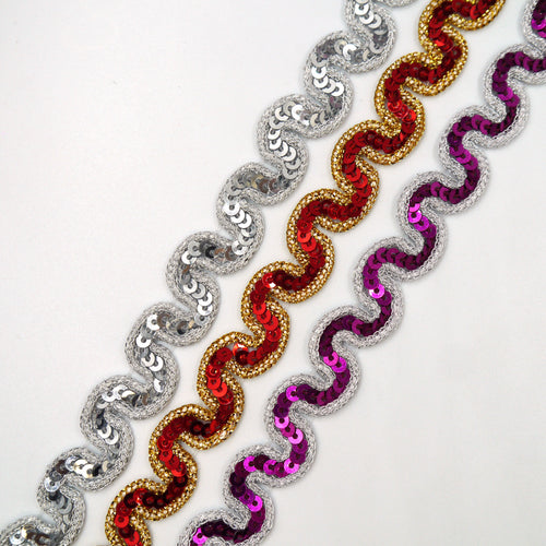 18mm Sequin And Lamé Ric Rac Braid 7262