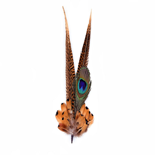 Large pheasant and peacock eye feather mount for millinery fascinator wedding hats FM016