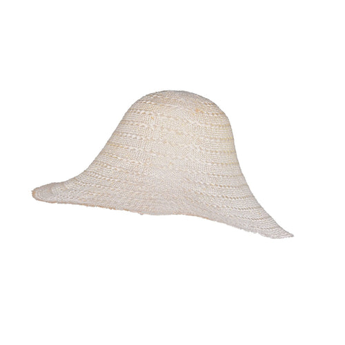 REDUCED Plaited patterned ramie straw hood STAINED HF026