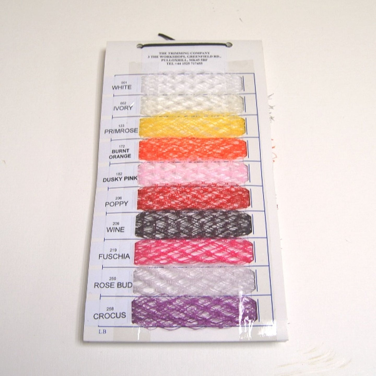Veiling swatch book showing all colours available of our veiling SC003