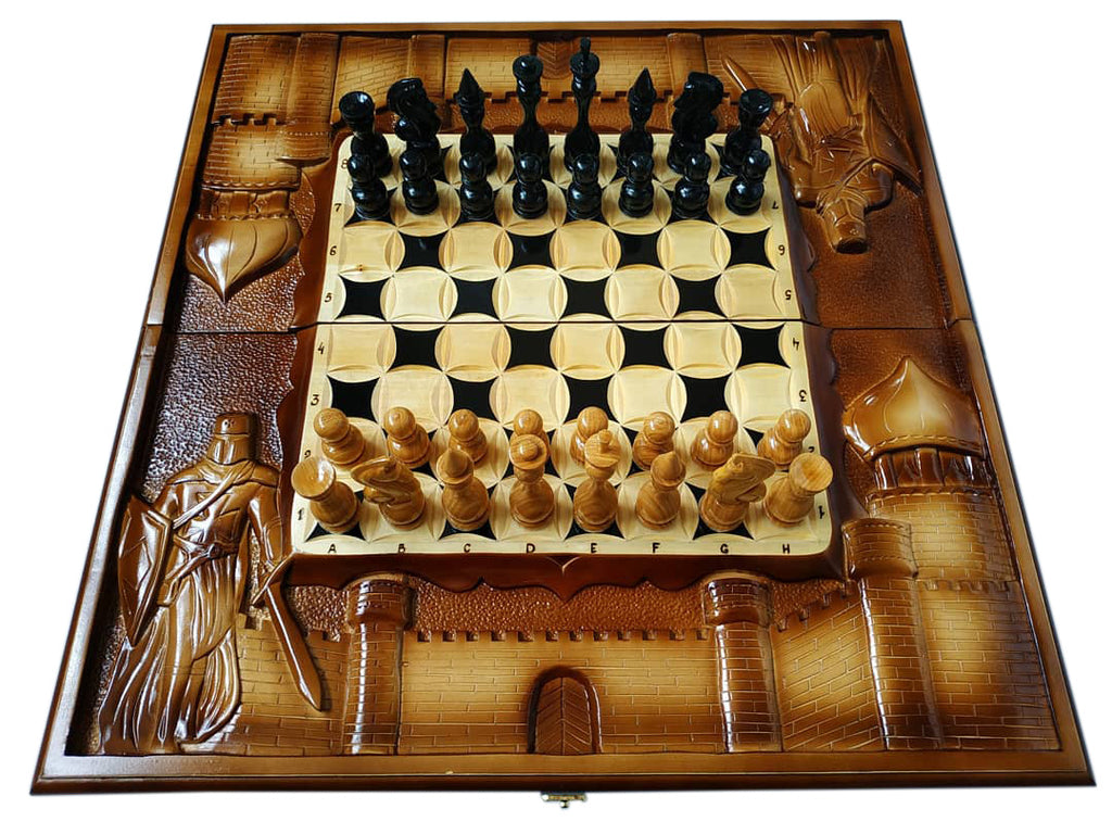 Wooden 3 in 1 Chess Checkers and Backgammon Pieces Travel Game Set