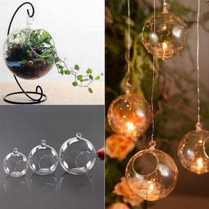 Hanging Candle Tea Light Holder Round Candle Light Holder Clear Candlestick Glass Christmas Home Wedding Party Dinner Decor