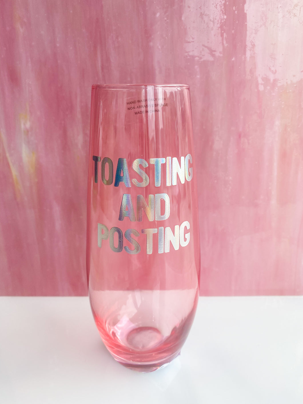 Toasting and Posting Champagne Flute