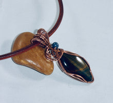 Load image into Gallery viewer, Blue Tigers Eye Marquise Pendant