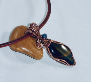 Blue Tigers Eye Marquise Pendant