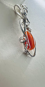 Carnelian wire wrapped Pendant