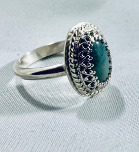 Oval Green Agate Ring