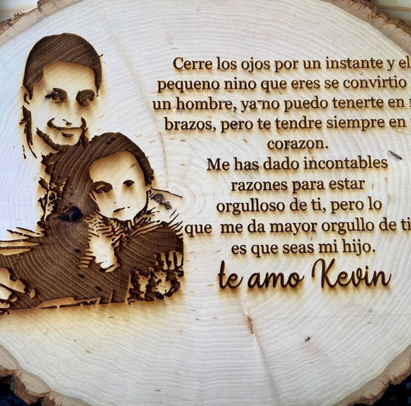 Engraved Photo and Message on Wood