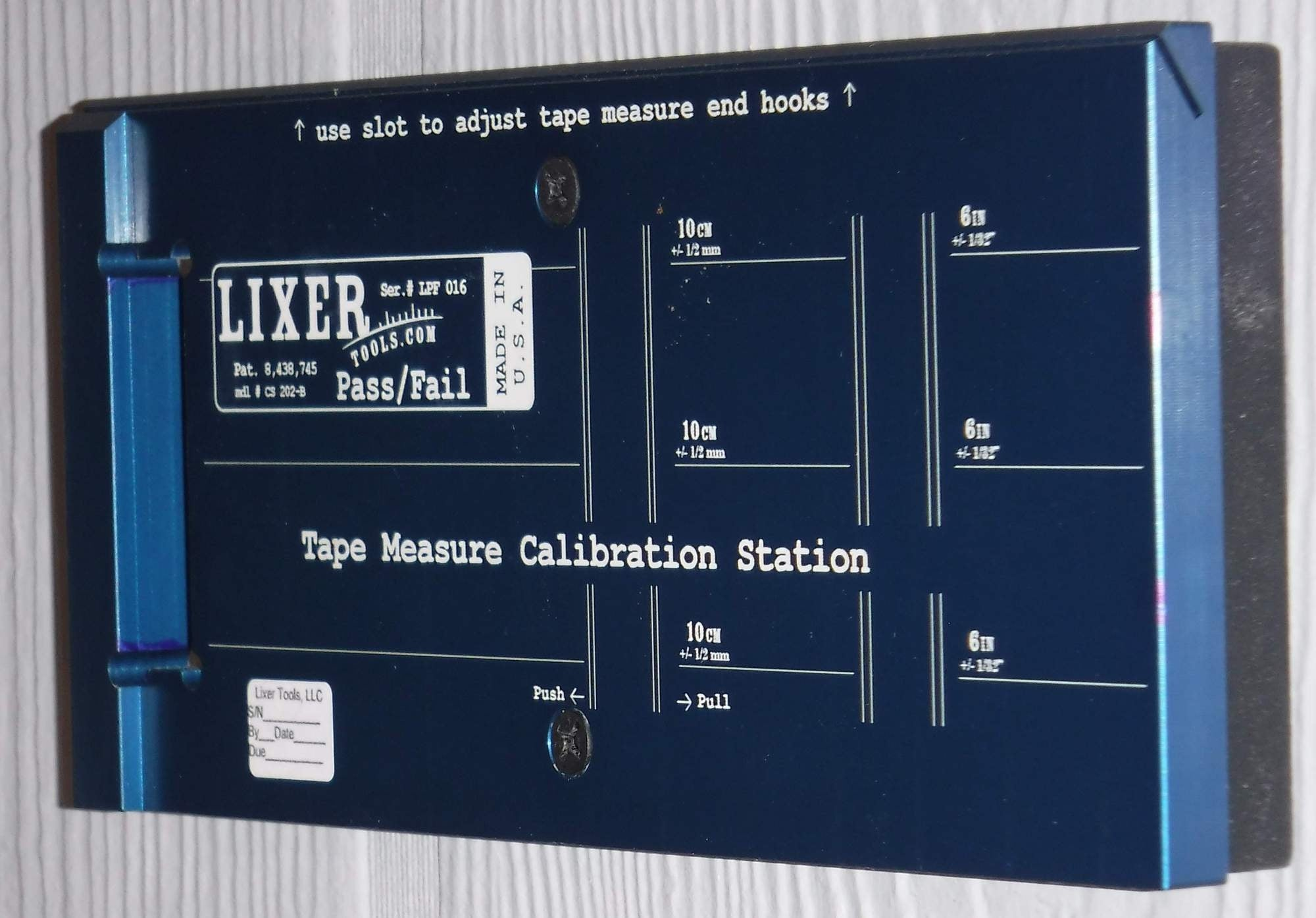 Lixer Pass/Fail Tape Measure Calibration Station