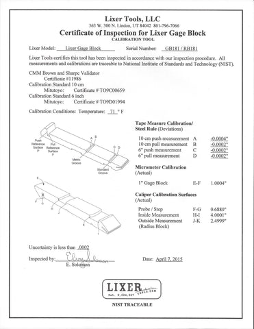 Lixer H Gage Block (GH101-55-SM) Accuracy +/-.0005 * +/-.0005 Hardened Stainless Steel (one tool)