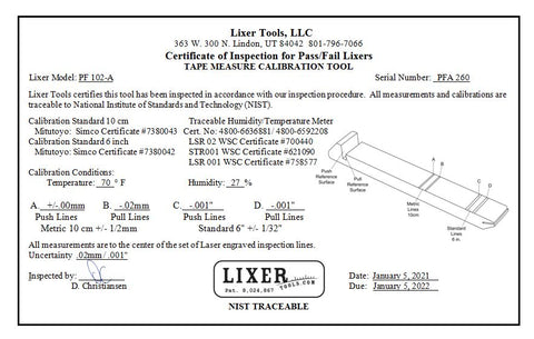 "Pass / Fail A Lixer (PF102-A) +/-.002"" Lasered Calibration Lines NIST Traceable"