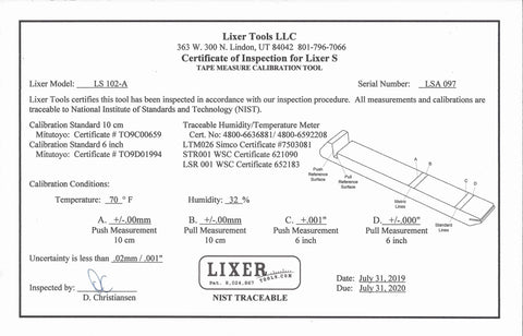 "Lixer S (LS-102-A) Lasered Calibration Lines +/-.002"" NIST Traceable"