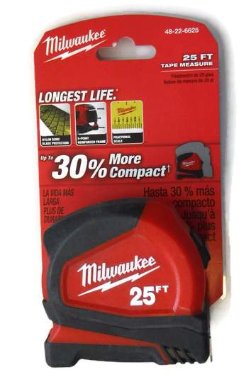 25 ft. Milwaukee Tape Measure with Fractional Scale 48-22-6625 (MIL-6625)