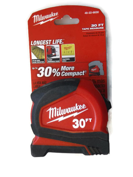30 ft. Milwaukee Tape Measure with Fractional Scale 48-22-6630 (MIL-6630)