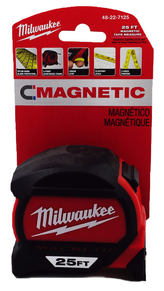 25 ft. Milwaukee Magnetic Tape Measure 48-22-7125 with blueprint scale (MIL-7125)