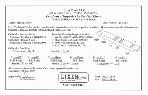 "Pass / Fail Lixer A (PF103-A) +/-.002"" Lasered Calibration Lines NIST Traceable"