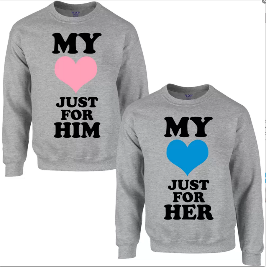My Heart Just For Him/Her Sweatshirts For Men...